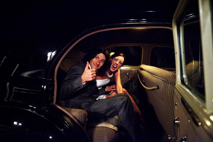 Happy Clients Leaving for the Evening in Vintage Romance Photo by: Chris Rady