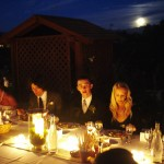 Full Moon rising over bridal party dinner table
