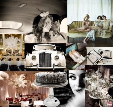 Great gatsby wedding inspiration santa barbara style for Art deco wedding decoration ideas