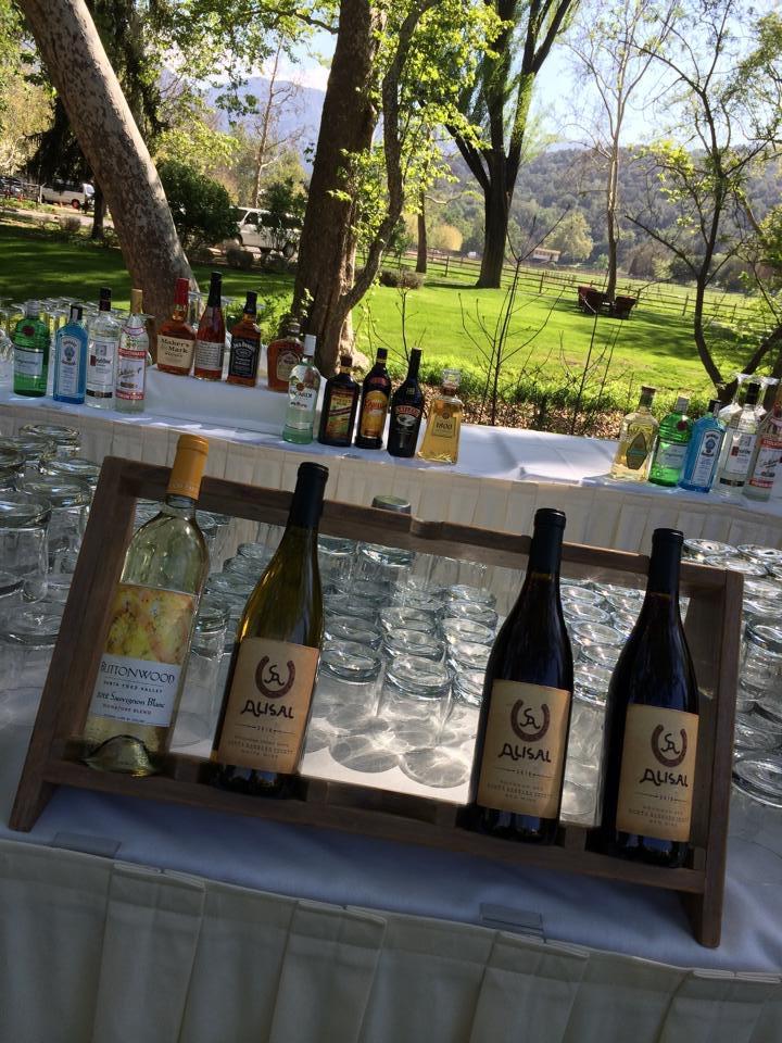 alisal lauren and brian reception bar outdoors